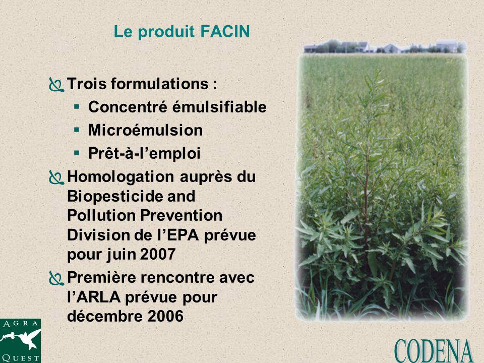 Le produit FACIN Trois formulations : Concentré émulsifiable Microémulsion Prêt-à-lemploi Homologation auprès du Biopesticide and Pollution Prevention