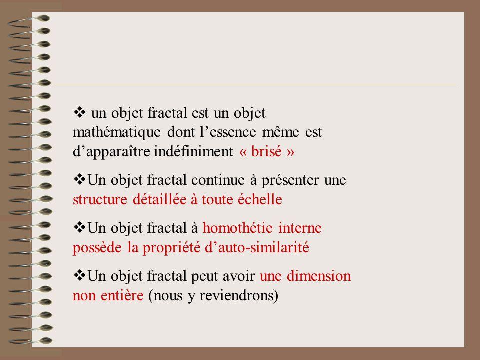 En 1975, Benoit Mandelbrot crée expressément le mot « fractal » Selon lui, on ne peut donner une définition empirique de ce terme mais on peut citer c
