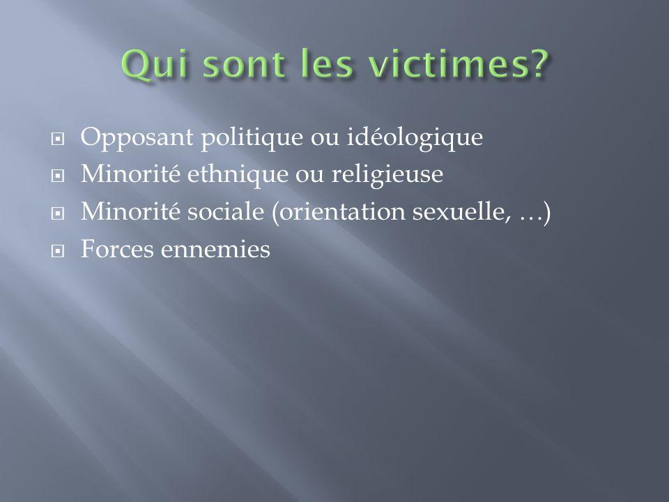 Opposant politique ou idéologique Minorité ethnique ou religieuse Minorité sociale (orientation sexuelle, …) Forces ennemies