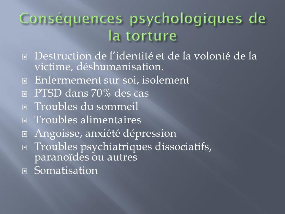 Destruction de lidentité et de la volonté de la victime, déshumanisation. Enfermement sur soi, isolement PTSD dans 70% des cas Troubles du sommeil Tro