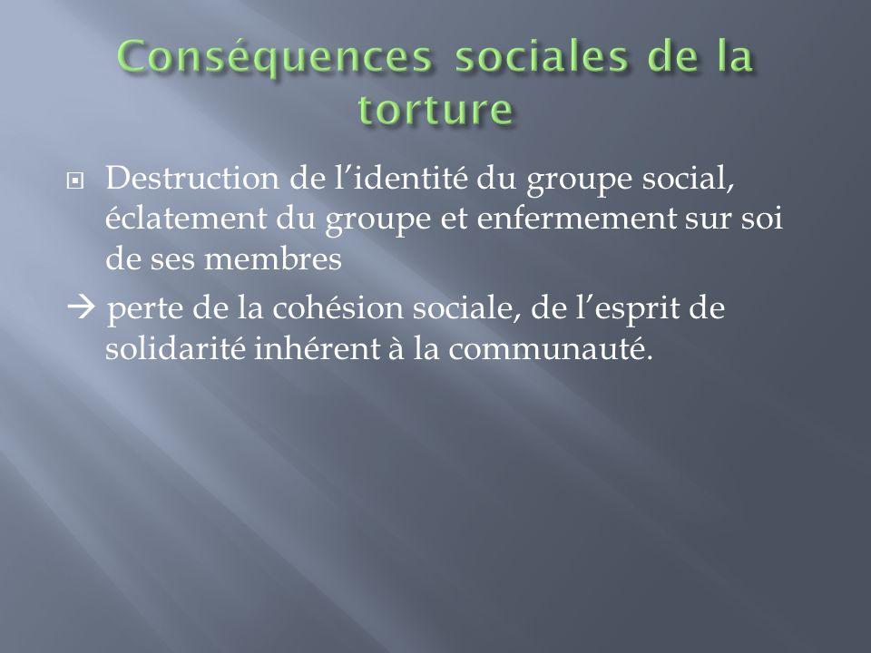 Destruction de lidentité du groupe social, éclatement du groupe et enfermement sur soi de ses membres perte de la cohésion sociale, de lesprit de soli