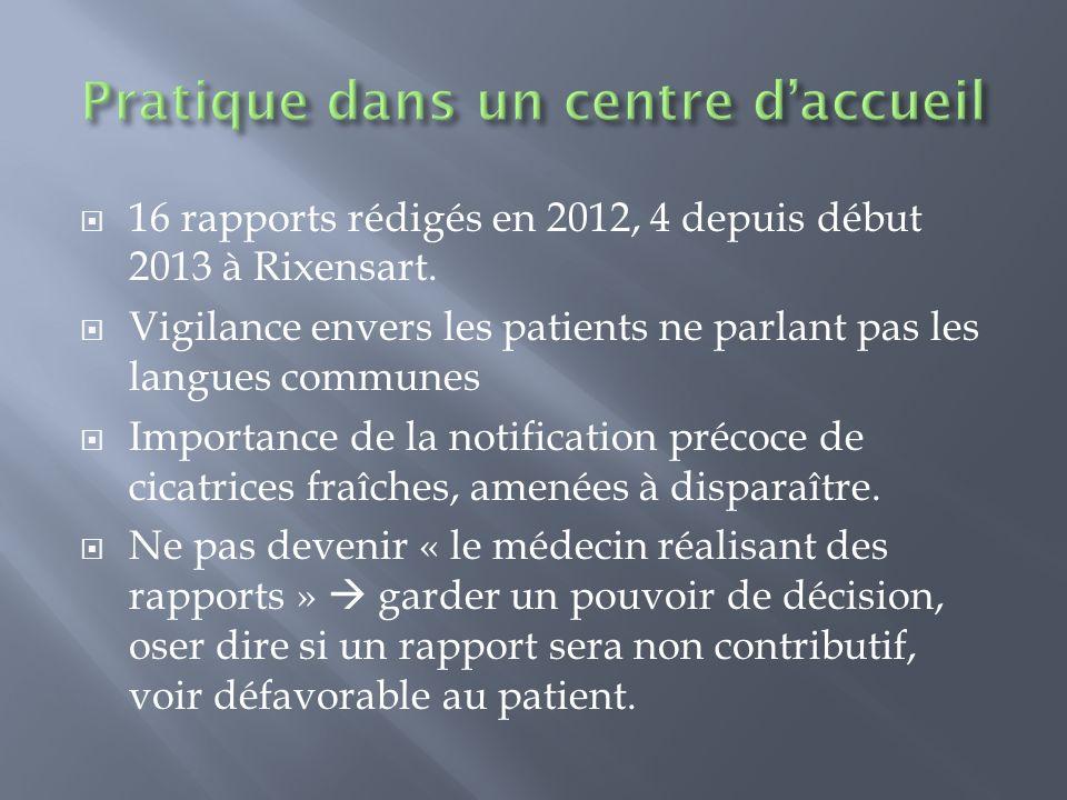 16 rapports rédigés en 2012, 4 depuis début 2013 à Rixensart. Vigilance envers les patients ne parlant pas les langues communes Importance de la notif