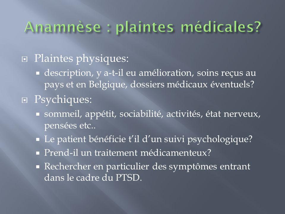 Plaintes physiques: description, y a-t-il eu amélioration, soins reçus au pays et en Belgique, dossiers médicaux éventuels? Psychiques: sommeil, appét