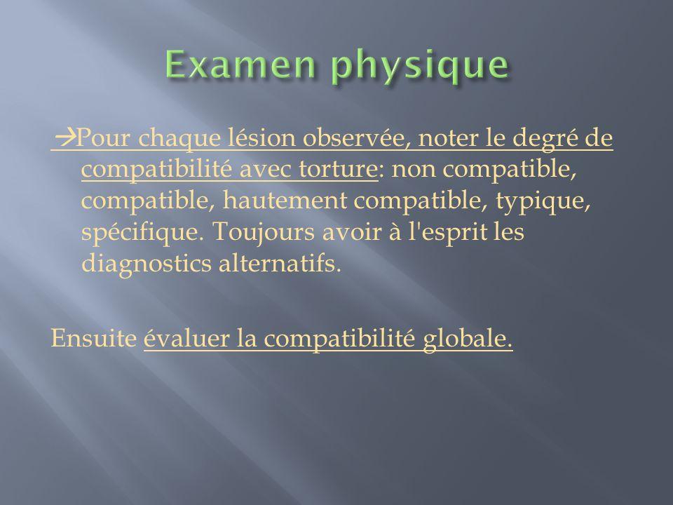 Pour chaque lésion observée, noter le degré de compatibilité avec torture: non compatible, compatible, hautement compatible, typique, spécifique. Touj