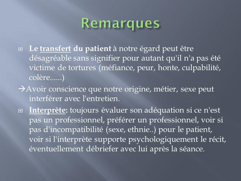 Le transfert du patient à notre égard peut être désagréable sans signifier pour autant qu'il n'a pas été victime de tortures (méfiance, peur, honte, c
