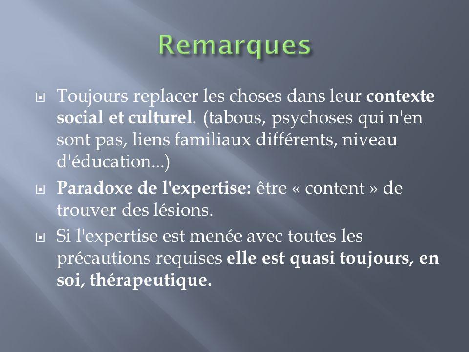 Toujours replacer les choses dans leur contexte social et culturel. (tabous, psychoses qui n'en sont pas, liens familiaux différents, niveau d'éducati