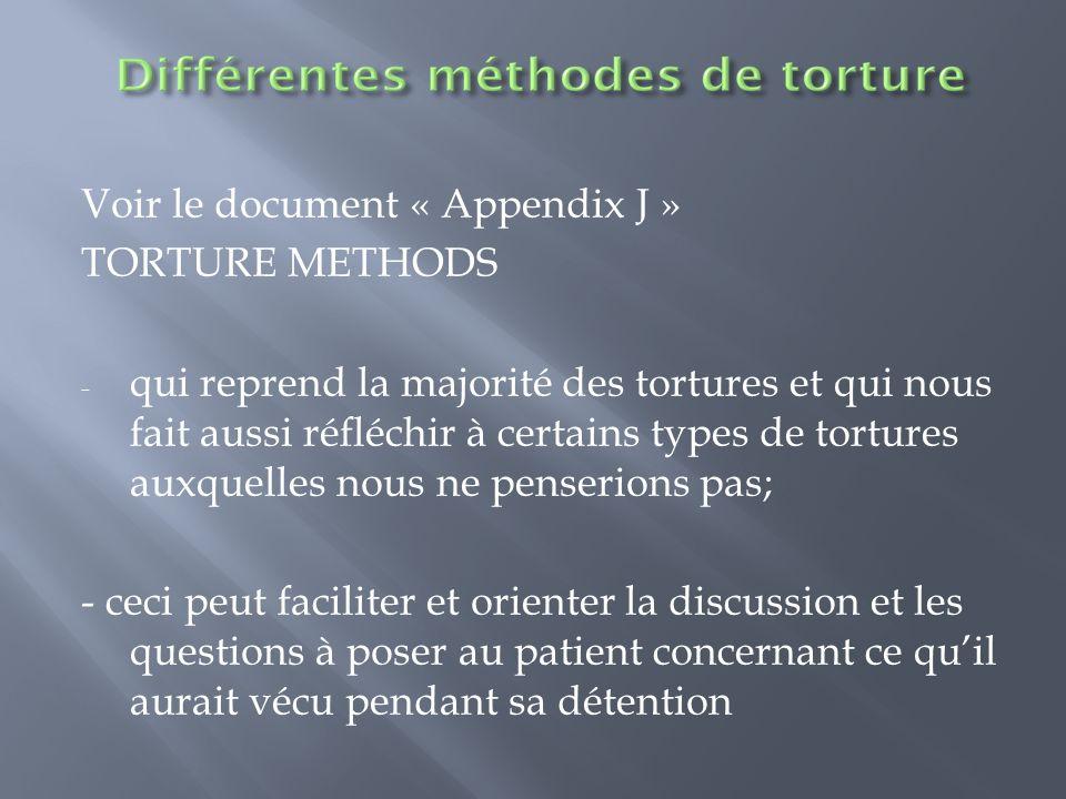 Voir le document « Appendix J » TORTURE METHODS - qui reprend la majorité des tortures et qui nous fait aussi réfléchir à certains types de tortures a