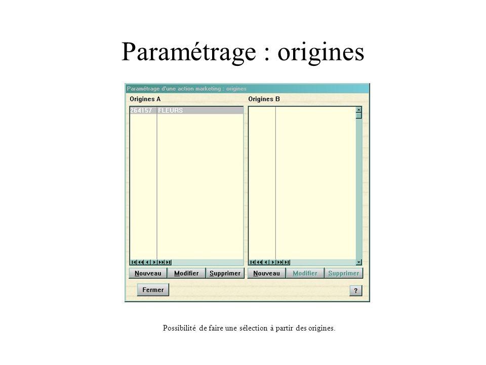Paramétrage : origines Possibilité de faire une sélection à partir des origines.