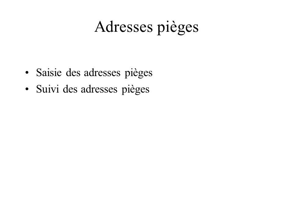 Adresses pièges Saisie des adresses pièges Suivi des adresses pièges