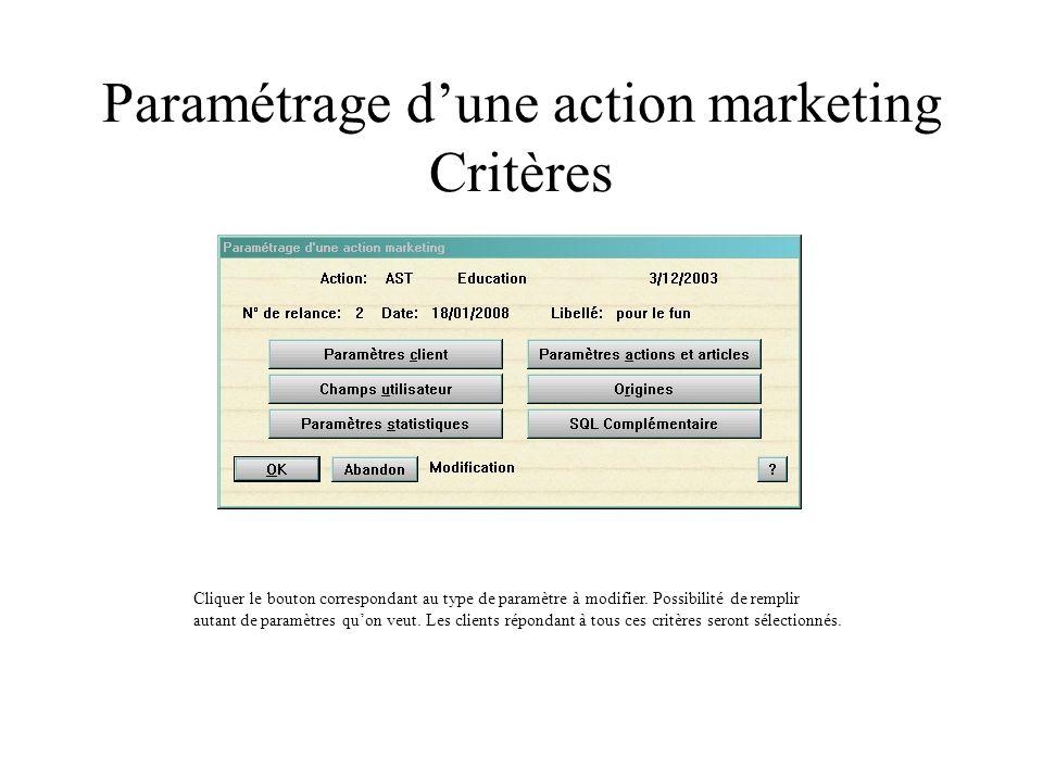 Paramétrage dune action marketing Critères Cliquer le bouton correspondant au type de paramètre à modifier. Possibilité de remplir autant de paramètre