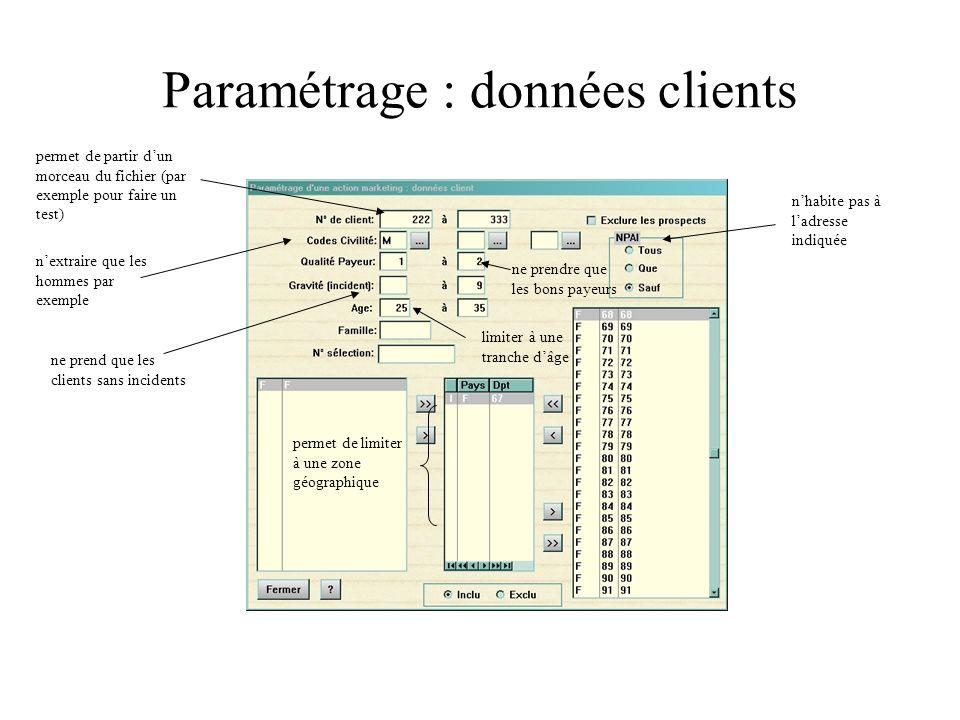 Paramétrage : champs utilisateurs Tous les champs sont utilisables pour sélectionner des clients.