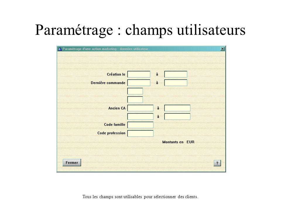 Paramétrage : données statistiques Les éléments statistiques sur lesquels vous pouvez poser des limites sont : le nombre de commandes, le CA total du client, le CA moyen dune commande, le nombre de retours, le taux de retours, les centres dintérêts, la récence, la périodicité, le CA de la dernière commande.