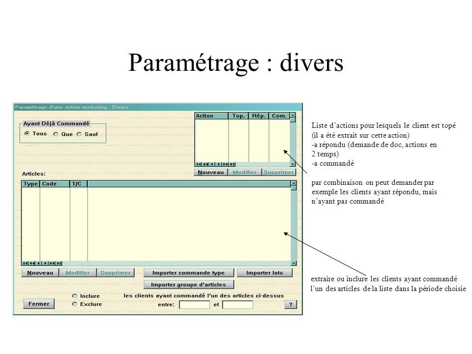Paramétrage : divers Liste dactions pour lesquels le client est topé (il a été extrait sur cette action) -a répondu (demande de doc, actions en 2 temp