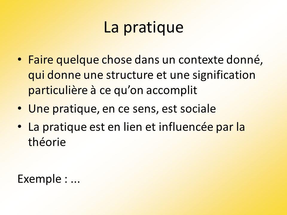 La pratique Faire quelque chose dans un contexte donné, qui donne une structure et une signification particulière à ce quon accomplit Une pratique, en