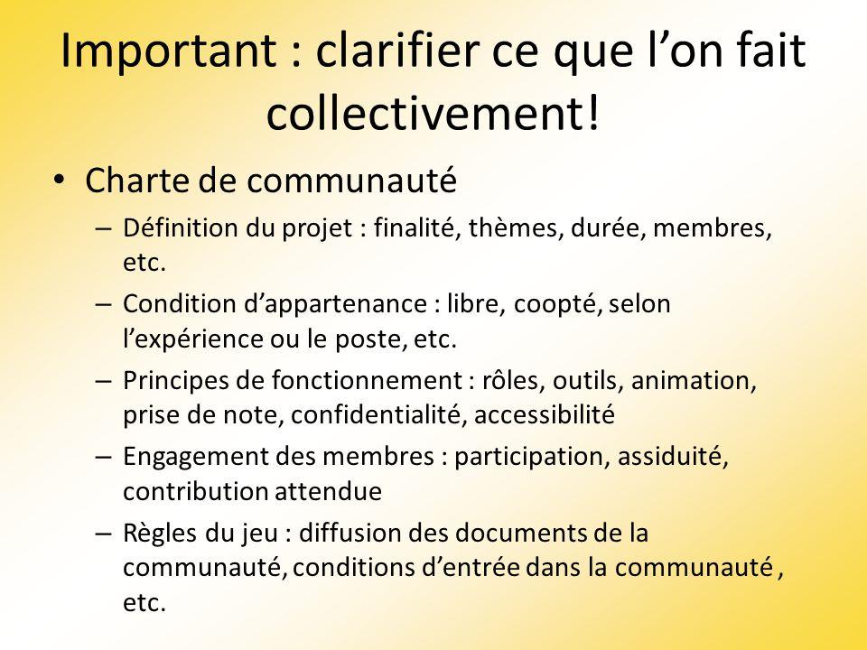 Important : clarifier ce que lon fait collectivement! Charte de communauté – Définition du projet : finalité, thèmes, durée, membres, etc. – Condition