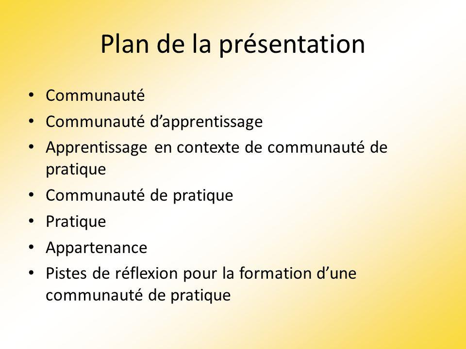 Plan de la présentation Communauté Communauté dapprentissage Apprentissage en contexte de communauté de pratique Communauté de pratique Pratique Appar