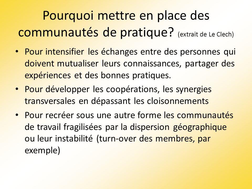 Pourquoi mettre en place des communautés de pratique? (extrait de Le Clech) Pour intensifier les échanges entre des personnes qui doivent mutualiser l
