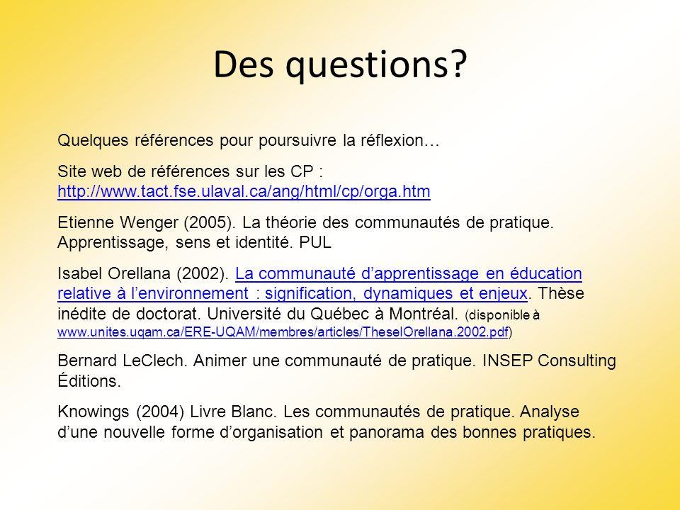 Des questions? Quelques références pour poursuivre la réflexion… Site web de références sur les CP : http://www.tact.fse.ulaval.ca/ang/html/cp/orga.ht