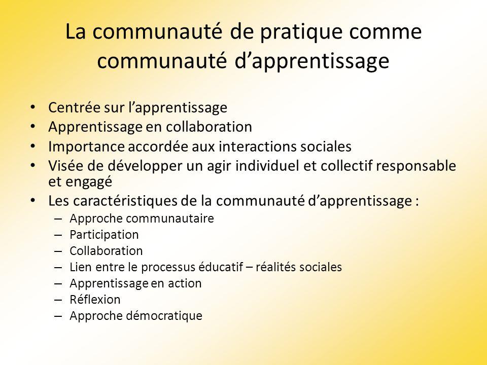 La communauté de pratique comme communauté dapprentissage Centrée sur lapprentissage Apprentissage en collaboration Importance accordée aux interactio