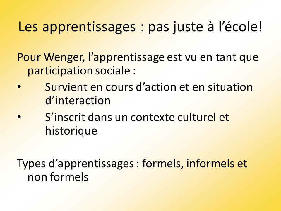 Les apprentissages : pas juste à lécole! Pour Wenger, lapprentissage est vu en tant que participation sociale : Survient en cours daction et en situat
