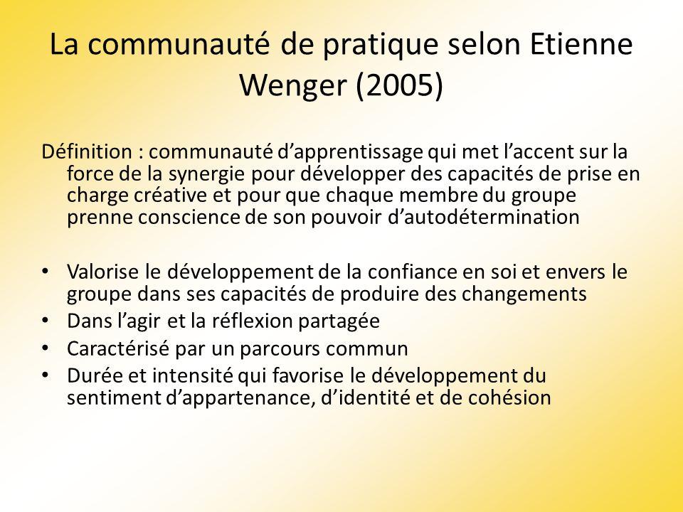 La communauté de pratique selon Etienne Wenger (2005) Définition : communauté dapprentissage qui met laccent sur la force de la synergie pour développ