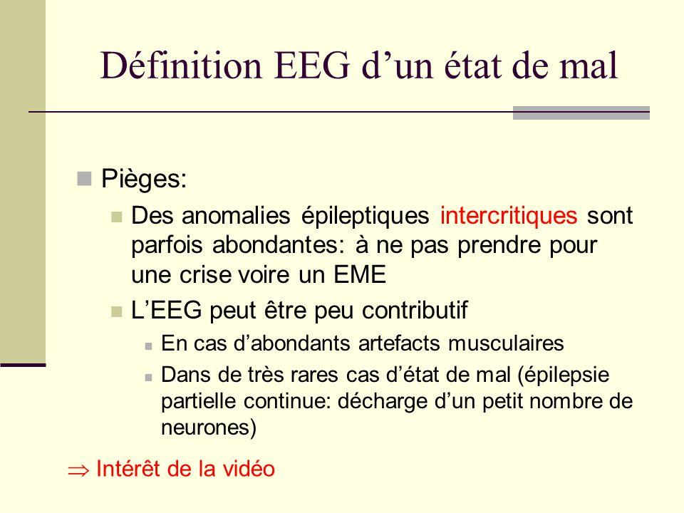 Définition EEG dun état de mal Pièges: Des anomalies épileptiques intercritiques sont parfois abondantes: à ne pas prendre pour une crise voire un EME LEEG peut être peu contributif En cas dabondants artefacts musculaires Dans de très rares cas détat de mal (épilepsie partielle continue: décharge dun petit nombre de neurones) Intérêt de la vidéo