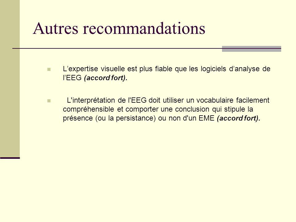 Autres recommandations Lexpertise visuelle est plus fiable que les logiciels danalyse de lEEG (accord fort).