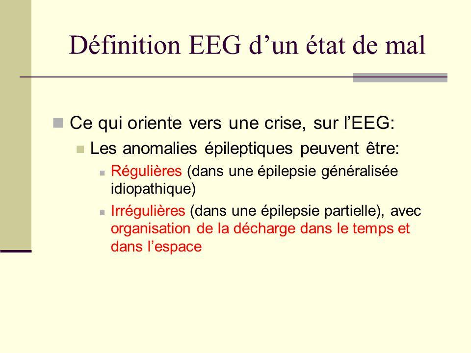 Définition EEG dun état de mal Ce qui oriente vers une crise, sur lEEG: Les anomalies épileptiques peuvent être: Régulières (dans une épilepsie généralisée idiopathique) Irrégulières (dans une épilepsie partielle), avec organisation de la décharge dans le temps et dans lespace