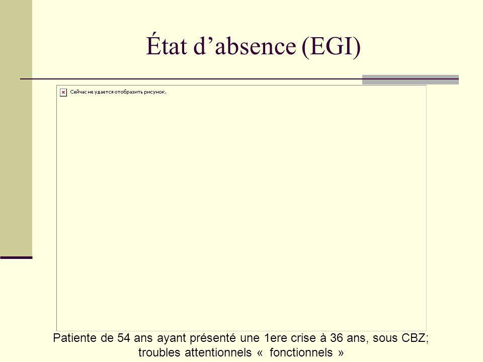 État dabsence (EGI) Patiente de 54 ans ayant présenté une 1ere crise à 36 ans, sous CBZ; troubles attentionnels « fonctionnels »