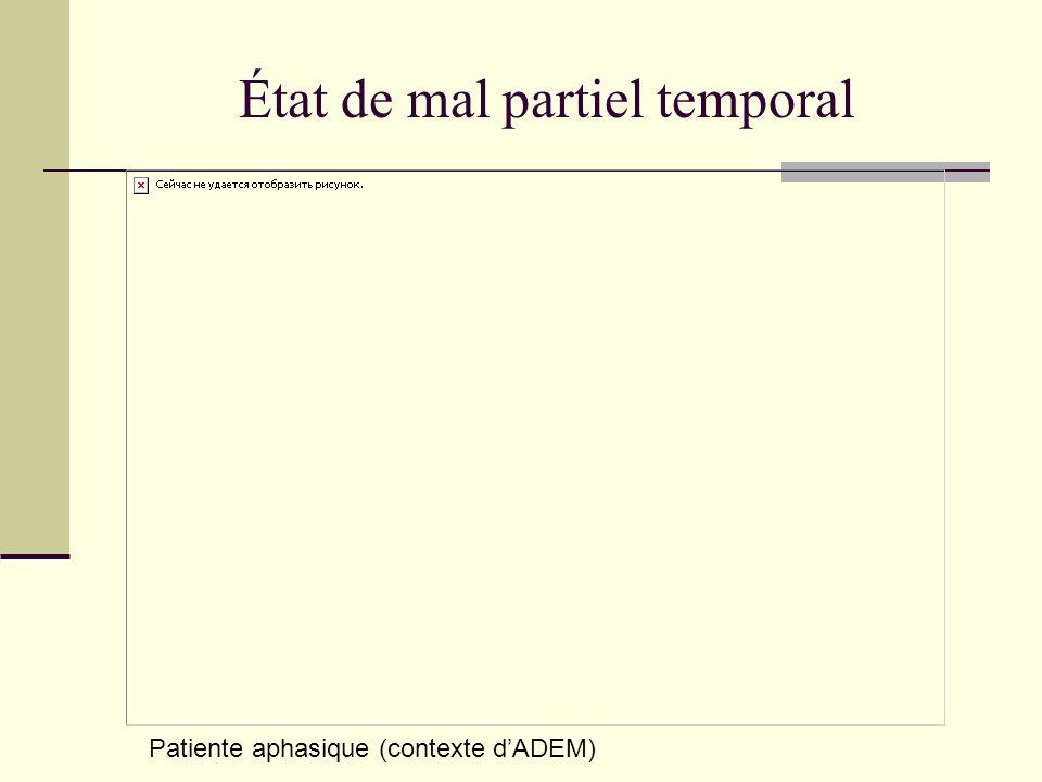Patiente aphasique (contexte dADEM) État de mal partiel temporal