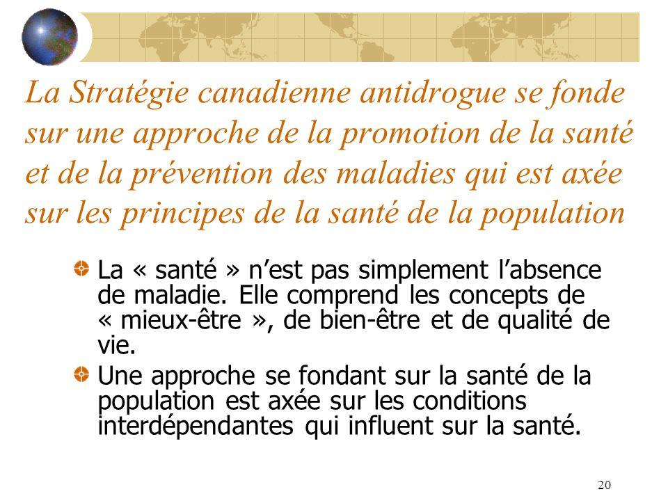 20 La Stratégie canadienne antidrogue se fonde sur une approche de la promotion de la santé et de la prévention des maladies qui est axée sur les prin