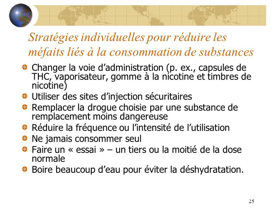 25 Stratégies individuelles pour réduire les méfaits liés à la consommation de substances Changer la voie dadministration (p. ex., capsules de THC, va
