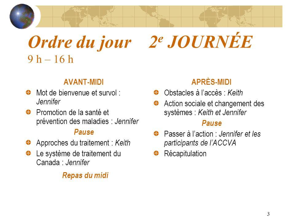 3 Ordre du jour 2 e JOURNÉE 9 h – 16 h AVANT-MIDI Mot de bienvenue et survol : Jennifer Promotion de la santé et prévention des maladies : Jennifer Pa