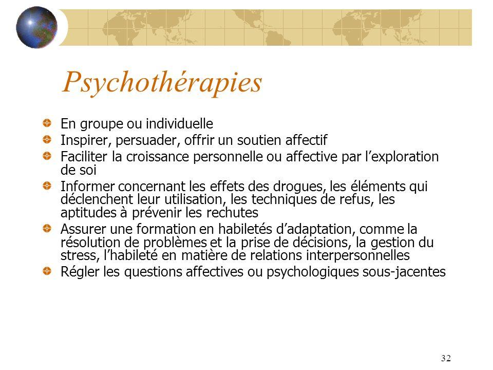 32 Psychothérapies En groupe ou individuelle Inspirer, persuader, offrir un soutien affectif Faciliter la croissance personnelle ou affective par lexp