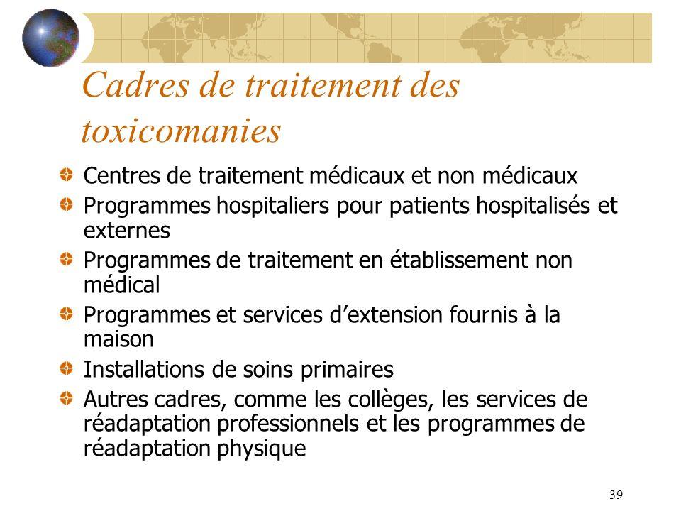 39 Cadres de traitement des toxicomanies Centres de traitement médicaux et non médicaux Programmes hospitaliers pour patients hospitalisés et externes