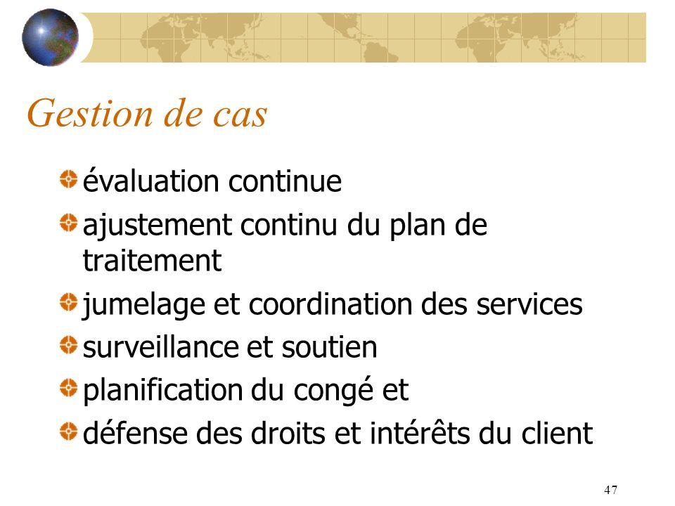 47 Gestion de cas évaluation continue ajustement continu du plan de traitement jumelage et coordination des services surveillance et soutien planifica
