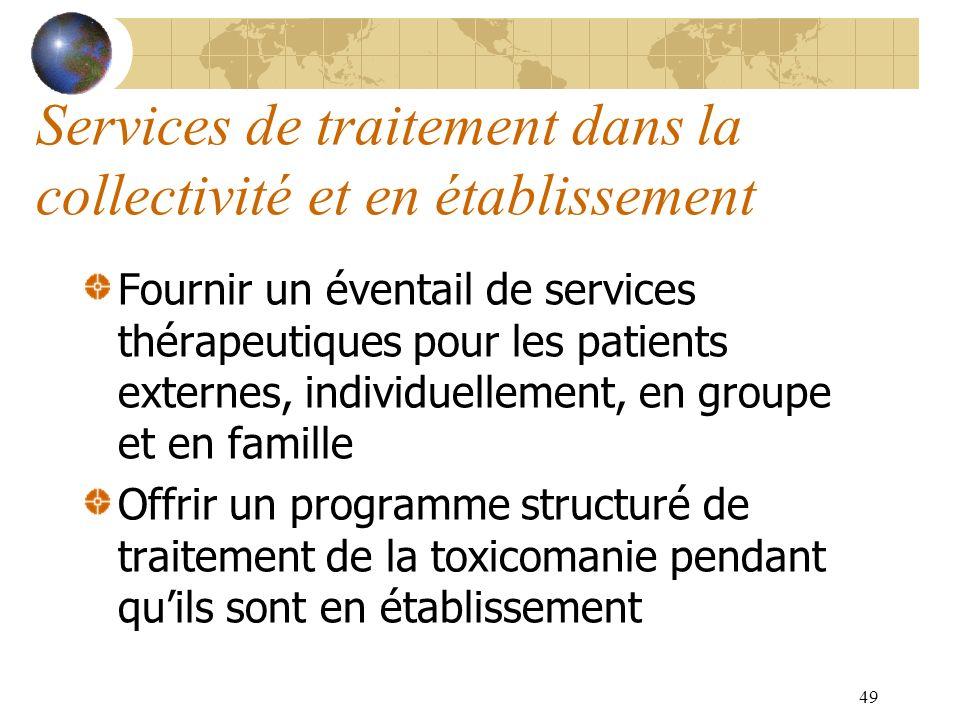49 Services de traitement dans la collectivité et en établissement Fournir un éventail de services thérapeutiques pour les patients externes, individu