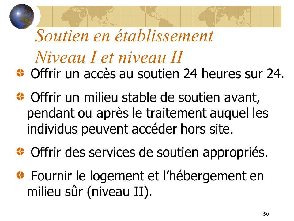 50 Soutien en établissement Niveau I et niveau II Offrir un accès au soutien 24 heures sur 24. Offrir un milieu stable de soutien avant, pendant ou ap