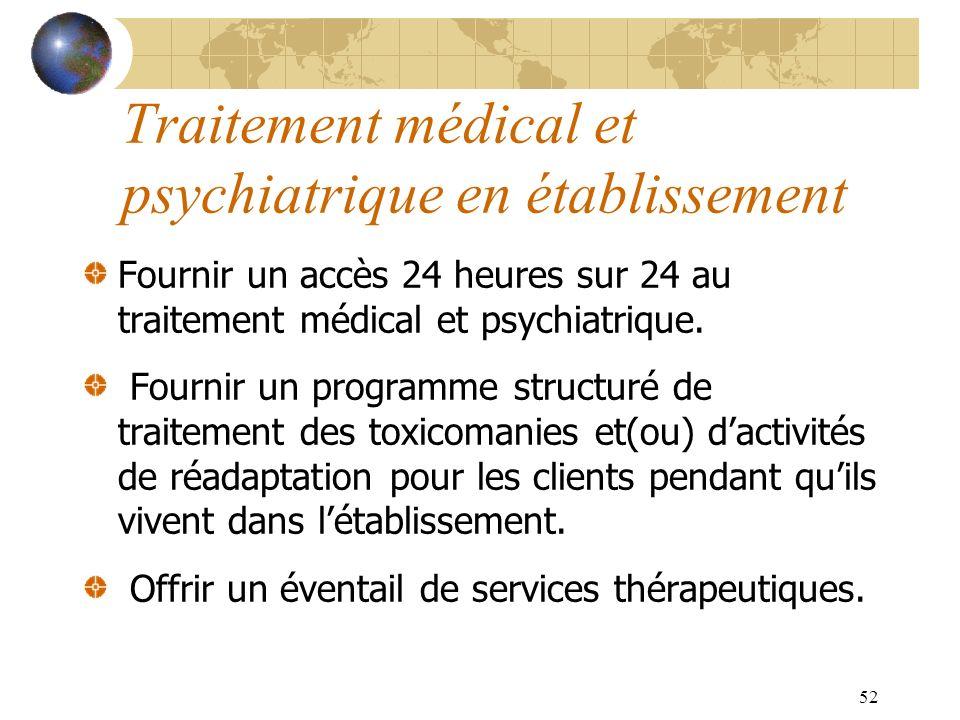 52 Traitement médical et psychiatrique en établissement Fournir un accès 24 heures sur 24 au traitement médical et psychiatrique. Fournir un programme