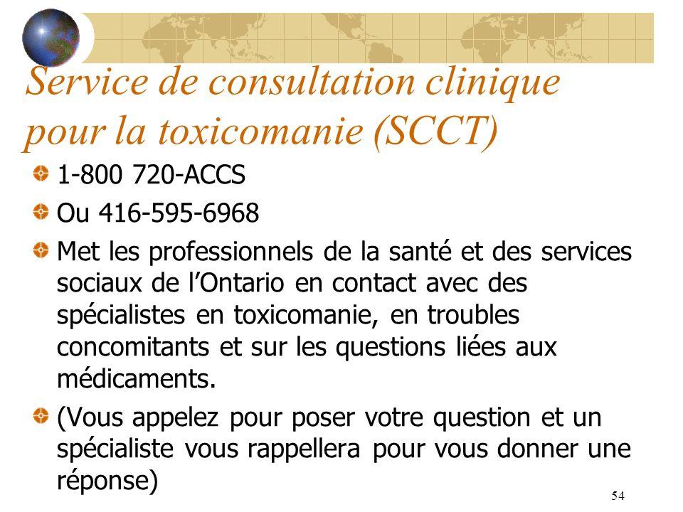 54 Service de consultation clinique pour la toxicomanie (SCCT) 1-800 720-ACCS Ou 416-595-6968 Met les professionnels de la santé et des services socia