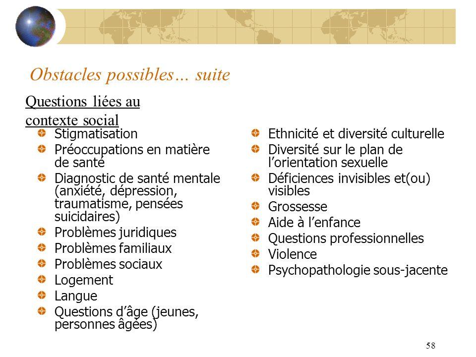 58 Obstacles possibles… suite Stigmatisation Préoccupations en matière de santé Diagnostic de santé mentale (anxiété, dépression, traumatisme, pensées