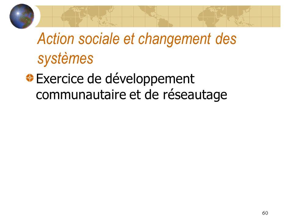 60 Action sociale et changement des systèmes Exercice de développement communautaire et de réseautage