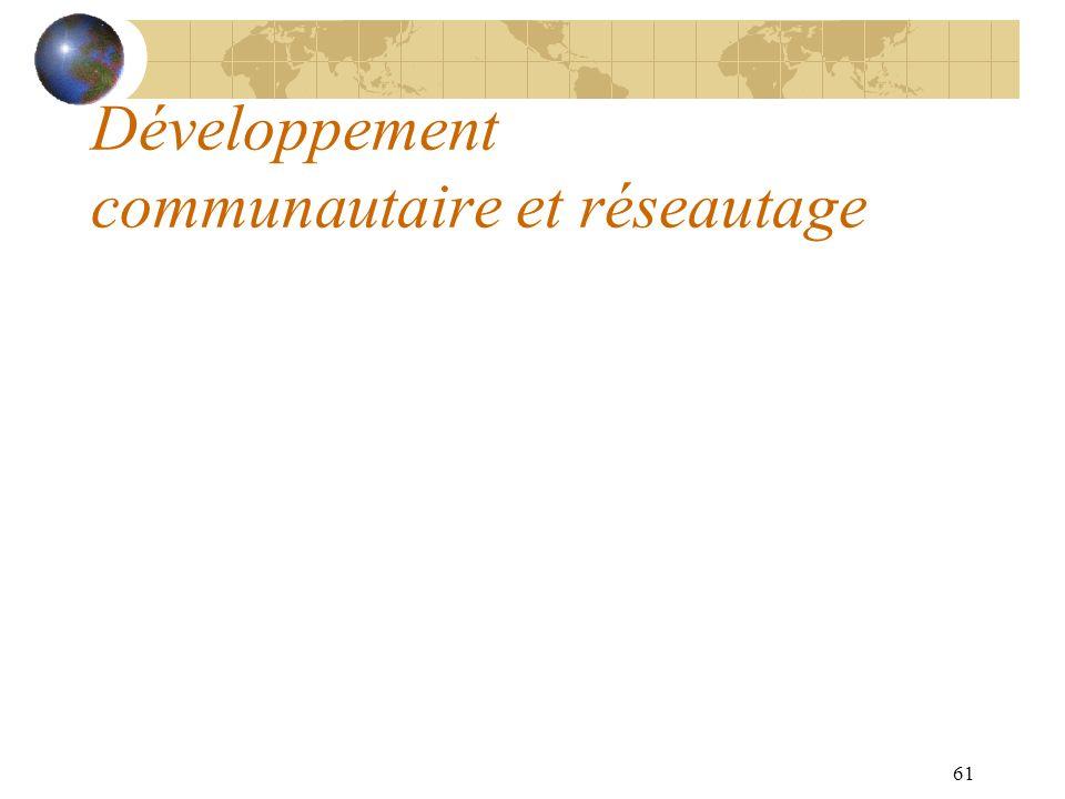 61 Développement communautaire et réseautage