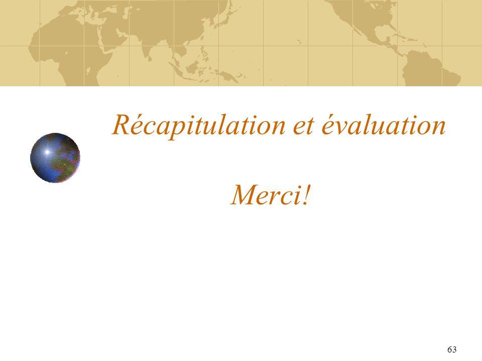 63 Récapitulation et évaluation Merci!