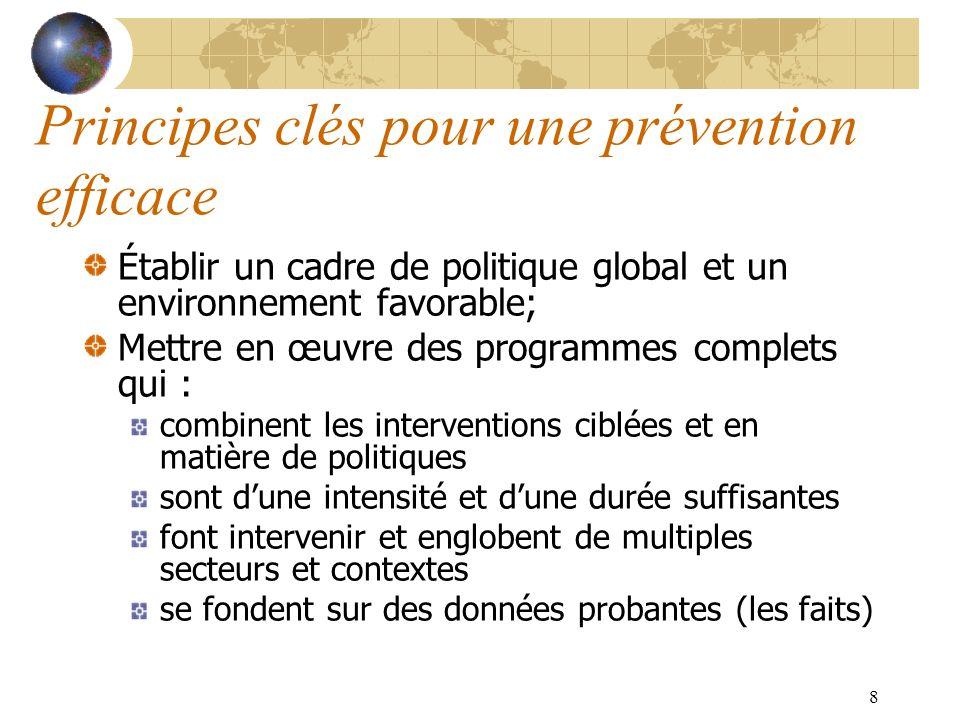 8 Principes clés pour une prévention efficace Établir un cadre de politique global et un environnement favorable; Mettre en œuvre des programmes compl