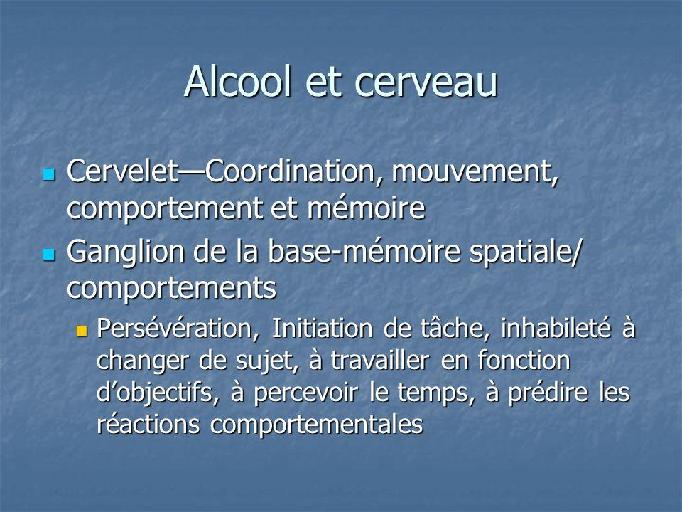 Alcool et cerveau CerveletCoordination, mouvement, comportement et mémoire CerveletCoordination, mouvement, comportement et mémoire Ganglion de la bas