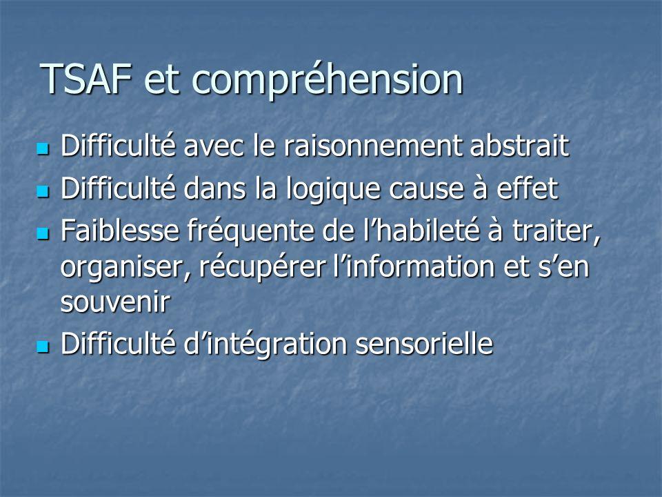 TSAF et compréhension Difficulté avec le raisonnement abstrait Difficulté avec le raisonnement abstrait Difficulté dans la logique cause à effet Diffi