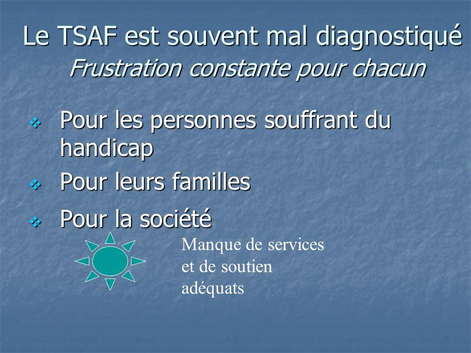 Le TSAF est souvent mal diagnostiqué Frustration constante pour chacun Pour les personnes souffrant du handicap Pour les personnes souffrant du handic