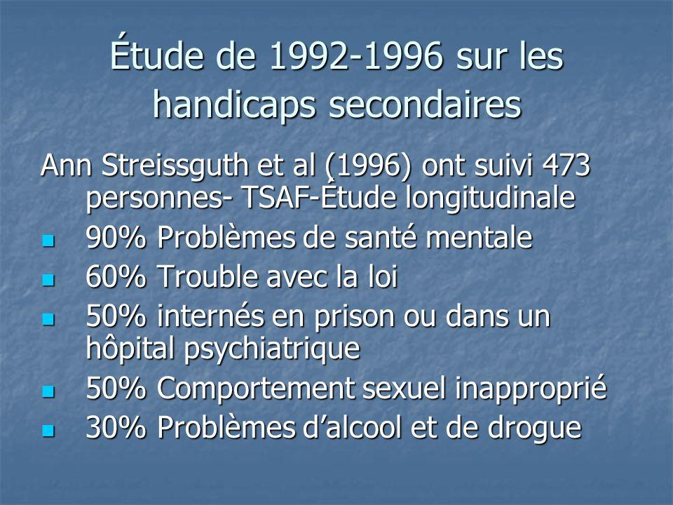 Étude de 1992-1996 sur les handicaps secondaires Ann Streissguth et al (1996) ont suivi 473 personnes- TSAF-Étude longitudinale 90% Problèmes de santé