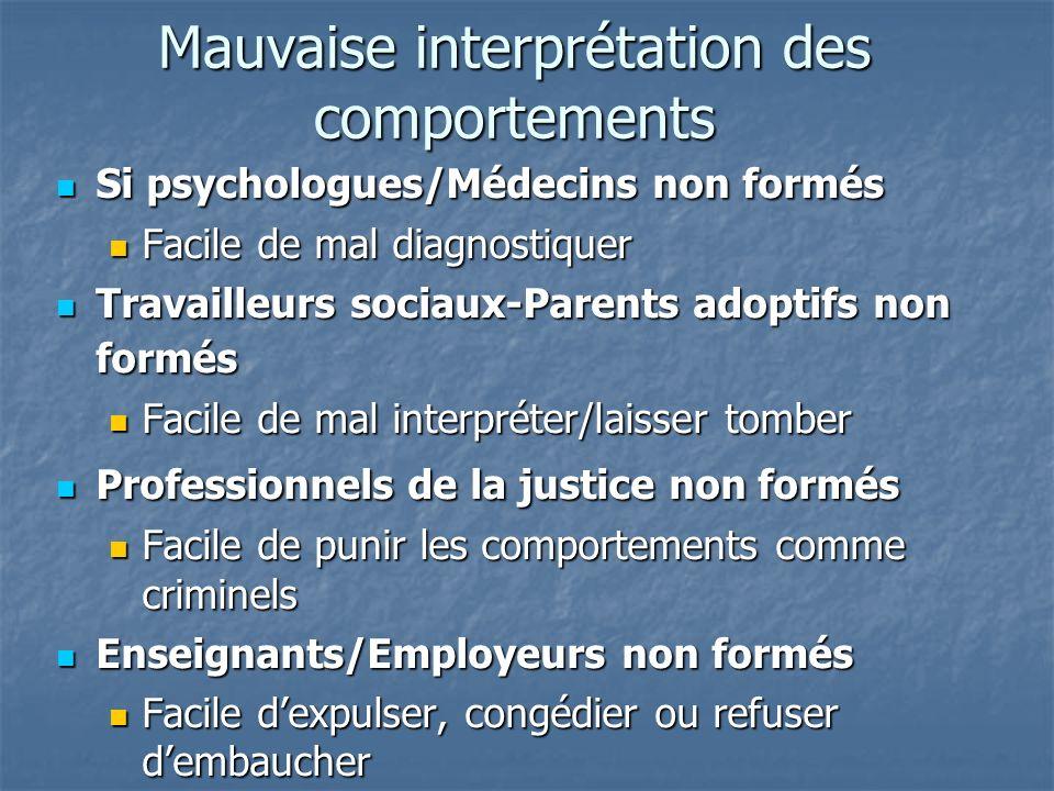 Mauvaise interprétation des comportements Si psychologues/Médecins non formés Si psychologues/Médecins non formés Facile de mal diagnostiquer Facile d